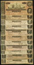 Confederate Notes:1864 Issues, CSA - Lot of 11 T-67 1864 $20 Notes.. ... (Total: 11 notes)