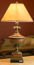 Decorative Arts, Continental, A Carved Wood and Brass-Mounted Lamp. 34-1/2 inches high (87.6 cm). ...