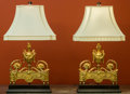 Decorative Arts, French, A Pair of Louis XVI-Style Gilt Bronze Chenets Mounted as TableLamps, early 20th century. 13 h x 13 w x 3-1/2 d inches (33....(Total: 2 Items)