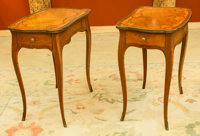 A Pair of Louis XV-Style Gilt Bronze Mounted Marquetry Side Tables 28 h x 17 w x 25 d inches (71.1 x 43.2 x 63.5 c