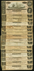 Confederate Notes:1864 Issues, CSA - Lot of 16 T-67 1864 $20 Notes.. ... (Total: 16 notes)