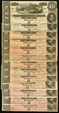 Confederate Notes:1864 Issues, CSA - Lot of 13 T-68 1864 $10 Notes.. ... (Total: 13 notes)