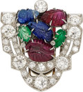 Estate Jewelry:Brooches - Pins, Multi-Stone, Diamond, Platinum Clip. ...