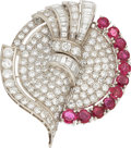 Estate Jewelry:Brooches - Pins, Art Deco Diamond, Ruby, Platinum Double-Clip-Brooch. ...