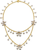 Estate Jewelry:Necklaces, South Sea Cultured Pearl, Moonstone, Gold Necklace, Prince Dimitri....