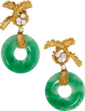 Estate Jewelry:Earrings, Diamond, Jadeite Jade, Gold Earrings. ... (Total: 4 Items)