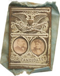 Political:Ferrotypes / Photo Badges (pre-1896), Grover and Frances Cleveland: Cardboard Jugate Mechanical Badge....