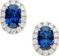 Estate Jewelry:Earrings, Ceylon Sapphire, Diamond, Platinum Earrings. ...