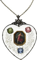 Estate Jewelry:Pendants and Lockets, Antique Painted Portrait, Multi-Stone, Gold, Silver-Topped GoldPendant-Necklace. ...