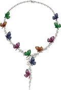 Estate Jewelry:Necklaces, Diamond, Multi-Color Sapphire, Ruby, Tsavorite Garnet, White GoldNecklace. ...
