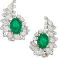 Estate Jewelry:Earrings, Colombian Emerald, Diamond, Platinum, Gold Earrings. ... (Total: 2Items)