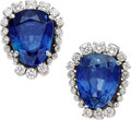 Estate Jewelry:Earrings, Burma Sapphire, Diamond, White Gold Earrings. ... (Total: 2 Items)