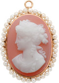 Estate Jewelry:Cameos, Hardstone Cameo, Freshwater Cultured Pearl, Gold Pendant-Brooch. ...