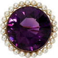 Estate Jewelry:Brooches - Pins, Antique Amethyst, Pearl, Gold Pendant-Brooch. ...
