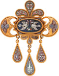 Estate Jewelry:Brooches - Pins, Victorian Hardstone Micromosaic, Gold Brooch, Italian. ...
