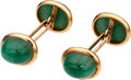 Estate Jewelry:Cufflinks, Aventurine Quartz, Gold Cuff Links, Austrian. . ... (Total: 2 Items)