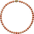Estate Jewelry:Necklaces, Coral, Gold Necklace. . ...