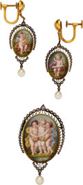Estate Jewelry:Suites, Painted Portrait, Diamond, Cultured Pearl, Gold Jewelry Suite,French. ... (Total: 2 Items)