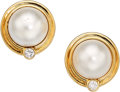 Estate Jewelry:Earrings, Mabe Pearl, Diamond, Gold Earrings, Tiffany & Co.. . ...(Total: 2 Items)