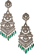 Estate Jewelry:Earrings, Diamond, Emerald, Silver-Topped Gold Earrings. ... (Total: 2 Items)