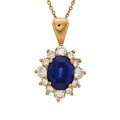 Estate Jewelry:Pendants and Lockets, Sapphire, Diamond, Gold Pendant-Necklace. ...