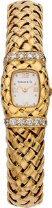 Estate Jewelry:Watches, Tiffany & Co. Lady's Diamond, Gold Vannerie Watch. ...