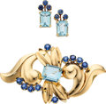 Estate Jewelry:Suites, Aquamarine, Sapphire, Gold Jewelry Suite. ... (Total: 3 Items)