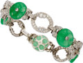 Estate Jewelry:Bracelets, Jadeite Jade, Diamond, Platinum Bracelet. ...