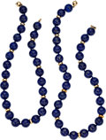 Estate Jewelry:Necklaces, Lapis Lazuli, Gold Necklaces. ... (Total: 2 Items)