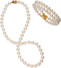 Estate Jewelry:Suites, Cultured Pearl, Gold Jewelry Suite, Tiffany & Co.. . ...(Total: 2 Items)