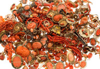 Coral, Diamond, Seed Pearl, Gold, Silver, Yellow and White Metal Jewelry 3lbs 3.5oz