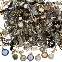 Diamond, Glass, Enamel, Mixed Metals Watch & Parts Lot 8lbs
