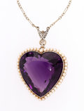 Estate Jewelry:Necklaces, Edwardian Amethyst, Seed Pearl, Diamond, Platinum, Gold Necklace....