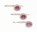 Estate Jewelry:Other, Art Deco Star Ruby, Diamond, White Gold Shirt Studs. ... (Total: 3 Items)