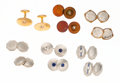 Estate Jewelry:Cufflinks, Diamond, Sapphire, Platinum, Gold Cuff Links. ...