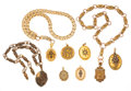 Estate Jewelry:Lots, Victorian Diamond, Seed & Half-Pearl, Enamel, Gold, Yellow Metal Lockets and Chains. ...