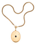 Estate Jewelry:Necklaces, Diamond, Synthetic Sapphire, Gold Locket-Necklace. . ...
