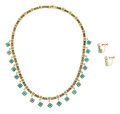 Estate Jewelry:Suites, Victorian Turquoise, Gold Jewelry Suite. . ... (Total: 3 Items)