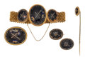 Estate Jewelry:Lots, Victorian Diamond, Enamel, Gold, Silver, Base Metal MourningJewelry Suite. . ...