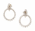 Estate Jewelry:Earrings, Diamond, White Gold Earrings. . ... (Total: 2 Items)