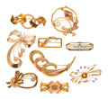 Estate Jewelry:Brooches - Pins, Retro Diamond, Multi-Stone, Gold Brooches. ...