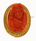 Estate Jewelry:Brooches - Pins, Victorian Cameo, Gold Brooch. ...