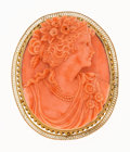 Estate Jewelry:Brooches - Pins, Victorian Coral, Gold Brooch. . ...