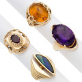 Estate Jewelry:Rings, Multi-Stone, Gold Rings. . ... (Total: 4 Items)