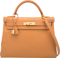 Hermes 32cm Vache Naturelle Leather Retourne Kelly Bag with Gold Hardware B Square, 1998 Excellen