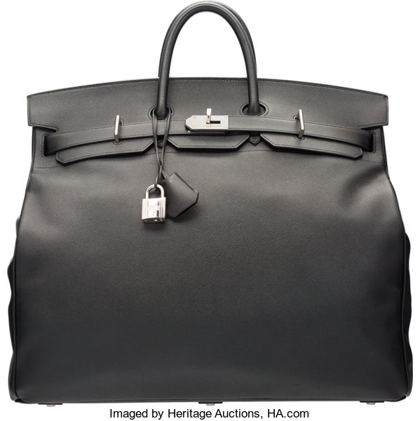 2313278d47 Hermes 50cm Black Epsom Leather HAC Birkin Bag with