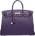 """Luxury Accessories:Bags, Hermes 40cm Iris Clemence Leather Birkin Bag with PalladiumHardware. N Square, 2010. Excellent Condition.15.5"""" W..."""