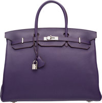 Hermes 40cm Iris Clemence Leather Birkin Bag with Palladium Hardware N Square, 2010 Excellent Con