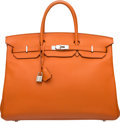 Luxury Accessories:Bags, Hermes 40cm Orange H Clemence Leather Birkin Bag with PalladiumHardware. O Square, 2011. Very Good Condition.15....