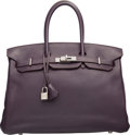 """Luxury Accessories:Bags, Hermes 35cm Raisin Clemence Leather Birkin Bag with PalladiumHardware. L Square, 2008. Very Good Condition. 14"""" Width x1..."""